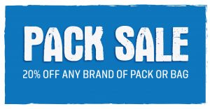 Pack Sale at Planet Rock! 20% off all brands of packs and bags, Sept 3-8 2019